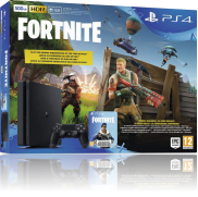 en slank PS4 500GB E - sort + Fortnite